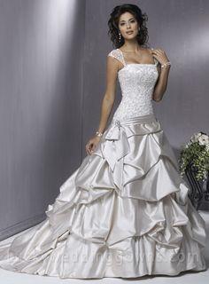 Vintage A-line Square Elastic Woven Satin Floor-Length Chapel Train Wedding Dress