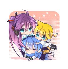 Gakupo, Len, and Kaito- Vocaloid Vocaloid Kaito, Gakupo Kamui, Kaito Shion, Mikuo, Anime Chibi, Kawaii Anime, Inuyasha, Sailor Moon, Kaai Yuki