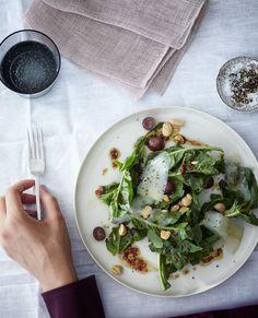 Dining | Michael Graydon                                          Arugula, Grape, and Almond Salad with Saba Vinaigrette BON APPÉTIT