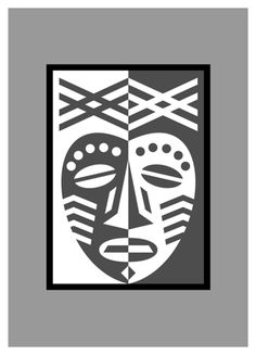 paper crafting tutorial: African Mask Design in two tone paper collage ... ying yang format ... luv it!!