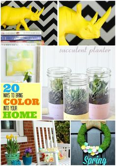 Great Ideas — 20 Ways to bring COLOR into Your Spring Decor! | Wonderful ideas that will make your world so colorful. Enjoy the fun of engaging in thes DIYs.