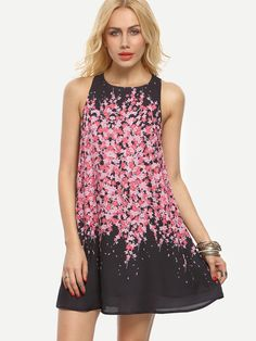 Multicolor Floral Sleeveless Shift Dress