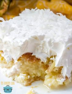 Piña Colada Poke Cake is made easy by using a butter cake mix poked with cream of coconut. It's non-alcoholic and topped with COOL WHIP and coconut! Coconut Cake Easy, Coconut Poke Cakes, Lemon And Coconut Cake, Pineapple Coconut, Crushed Pineapple, Poke Cake Recipes, Dessert Recipes, Desserts, Poke Cake Recipe Condensed Milk
