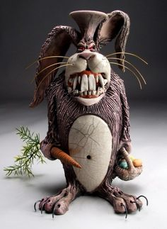 Writing Prompt: You wake up in the middle of the night to find a deranged bunny at the foot of your bed. What do you do? What does he want? Deranged bunny; Google Image