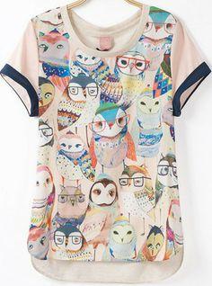 Fashion Crew Neck Owl Pattern Loose Asymmetrical Chiffon Blouse