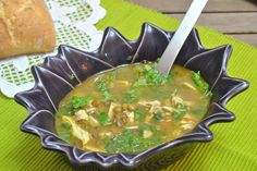Lentil and chicken soup with cilantro.