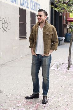Shop this look on Lookastic:  https://lookastic.com/men/looks/white-polo-blue-jeans-brown-leather-chelsea-boots/30  — White Polo  — Blue Jeans  — Brown Leather Chelsea Boots