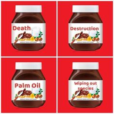 CANNOT BELIEVE the amount of people in my feeds that have purchased 'personalised jars' of #Nutella. So here's some names I did for you.  DEATH. DESTRUCTION. WIPING OUT SPECIES. All because of PALM OIL.  Palm oil is known by over 270 different names.  It's in over half of the products you find in a supermarket.  It's in food deodorant cleaning products skincare make up... just about everything.  The effects are devastating.  Animals are dying on the brink of extinction.  Rainforests that…