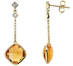 Exquisite Genuine Gemstone Citrine Earrings at BitCoin Gems