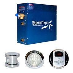 SteamSpa Royal 9 KW QuickStart Acu-Steam Bath Generator Package with Touc Polished Chrome Steam Showers Steam Shower Kits Residential Steam Sauna, Steam Bath, Steam Room, Spa, Steam Generator, Relief Valve, Shower Kits, Shower Door, Shower Ideas