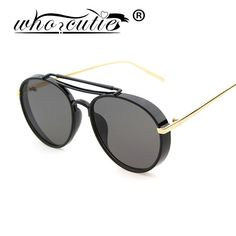 WHO CUTIE Steampunk Mens Sunglasses Brand 2016 Brand Sunglass Round Double Beam Women Sun Glasses Gafas Mujer