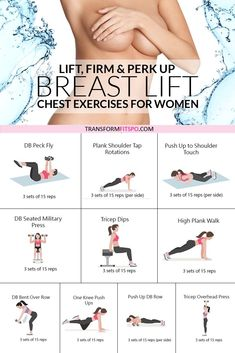 This exercise routine will perk up your breasts easily at home. No equipment needed for this home workout which will transform your body and give you a natural breast lift. Get rid of back fat and try these chest exercises for women to give your bust line Chest Workout Women, Fitness Workout For Women, Fitness Tips, Arm Workout Women No Equipment, Slim Arms Workout, Breast Lift Workout, Upper Body Workout For Women, Back Workout Women, Chest Workouts For Women