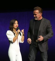 LAS VEGAS, NEVADA - APRIL 04: Actress Natalia Reyes (L) and actor Arnold Schwarzenegger speak during Paramount Pictures exclusive presentation during CinemaCon at The Colosseum at Caesars Palace on April 04, 2019 in Las Vegas, Nevada. CinemaCon is the official convention of the National Association of Theatre Owners. Caesars Palace, National Association, Dani, Paramount Pictures, Arnold Schwarzenegger, Nevada, Theatre, Las Vegas, Presentation