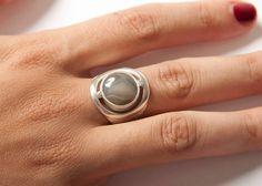 plata de ley y ágata con bandas gris hecho a mano por AzulTribe