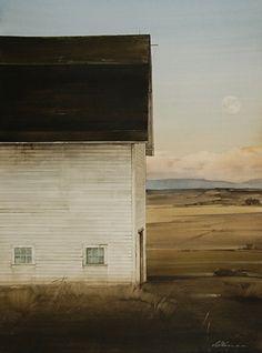 "White Dusk by Joseph Alleman Watercolor ~ 30"" x 22"""