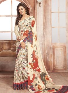 Off White Crepe Printed Saree With Blouse 85840