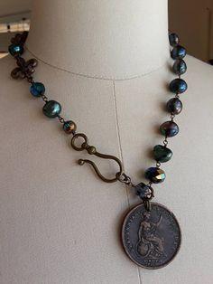 Antique Britannia metal vintage repurposed assemblage jewelry