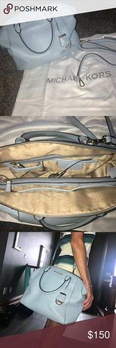 Michael Kors Baby Blue purse Michael Kors Baby Blue purse. Gently used.Can be worn as cross body or just as a handbag MICHAEL Michael Kors Bags