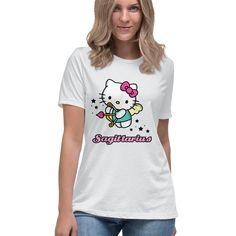 Hello Kitty Zodiac Sagittarius Tee Officially Licensed Sanrio Hello Kitty Apparel Hello Kitty T Shirt, Sanrio Hello Kitty, Tee Design, Sweater Hoodie, Sagittarius, Tees, Shirts, Zodiac, Hoodies