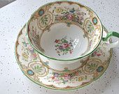antique Aynsley tea cup and saucer set, 1930's English bone china, hand painted, pink roses daisies, art nouveau