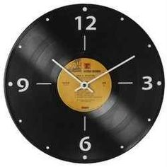 Vintage music decor that is fun but useful is a vinyl record clock. This is a nice way to spruce up a wall up above where you keep your music....