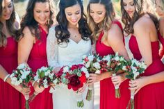 bridesmaids in red and a marsala peonie bouquet // southern california wedding photographer