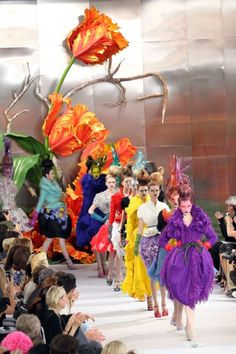 John Galliano for Christian Dior Fall/Winter 2011 Couture's 'Alice In Wonderland' psychedelic runway show at Paris Fashion Week.