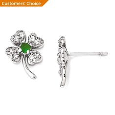 0106c921c ICE CARATS 925 Sterling Silver Glass Simulated Green Emerald Cubic Zirconia  Cz 4 Leaf Clover Post