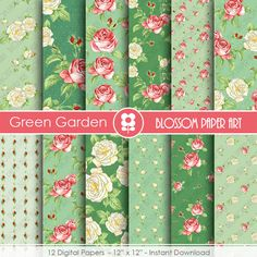 Green Scrapbook Paper Floral Digital Paper by blossompaperart