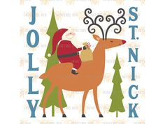 Jolly St Nick svg eps dxf jpeg png cut file for Silhouette and Cricut by HoneybeeSVG on Etsy