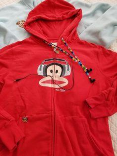 Paul Frank Hooded Sweatshirt red w/headphones ear phones buds Sock Monkey Size S #PaulFrank #Hoodie