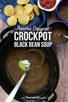 "Crockpot Vegetarian Black Bean Soup (Panera Copycat). A healthy vegetarian dinner recipe from one of our favorite ""quick eats"" place."