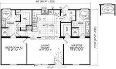 The Emory mobile home floor plan is a 28 X 40 1067 sqft doublewide available for Sale in in TN, AL, KY, MO.