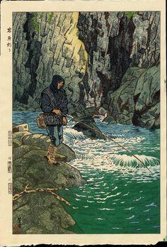 Kasamatsu, Shiro (1898-1991) - Fishing For Char