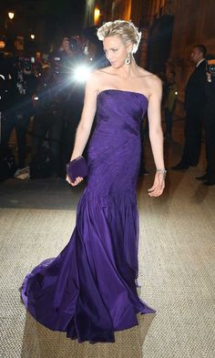 October 2013: Stealing the show in a Princess Diana-inspired indigo dress and matching lilac diamond earrings at the Ralph Lauren Collection private dinner.