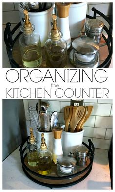 Small kitchen- Organizing the Kitchen Counter - A simple tray and a few canisters is all you need! Kitchen Pantry, Kitchen Storage, Kitchen Dining, Kitchen Ideas, Kitchen Tray, Modern Kitchen Decor, Organized Kitchen, Organizing Kitchen Utensils, Apartment Kitchen Organization