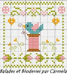 Cute bird & spool design.