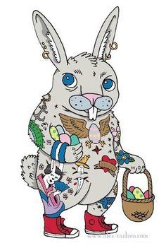 Happy Easter! Tattooed bunny rabbit!