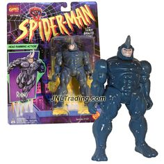 Toy Biz Year 1994 Spider-Man Animated Series 5 Inch Tall Action Figure - RHINO with Head Ramming Action