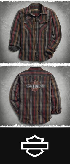 Don't worry, this rugged all-cotton shirt can take it. | Harley-Davidson Men's Logo Over-Dyed Plaid Slim Fit Shirt