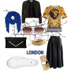 London Calling by whitney-1988 on Polyvore featuring polyvore fashion style Versus Maglie I Blues Chicwish Superga Shaun Leane YooLa DESTIN Ray-Ban