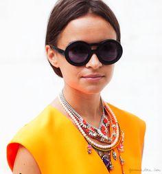 Miroslava Duma, short hair, sunglasses, chunky jewelry  / Garance Doré