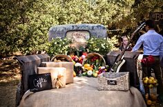 Fun Farmers Market Inspired Wedding: Chelsea + Dillon  Like the idea of using an old truck for food display maybe?