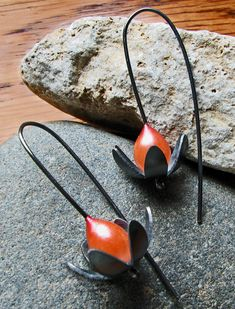 Grace Stokes Designs - Lotus Flower Earrings - Oxidized Sterling Silver and Polymer Clay - www.gracestokesdesigns.com