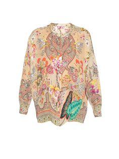 ETRO Stand-Collar Paisley Botanical-Print Blouse. #etro #cloth #blouse
