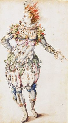 "Inigo Jones Costume design for a Torchbearer in the ""Masque of Costume for a Torchbearer of Oceania from the. Theatre Costumes, Ballet Costumes, Costume Design Sketch, Costume Carnaval, Victoria And Albert Museum, Historical Costume, 17th Century, Renaissance, Sketches"