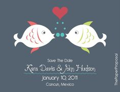 save the date/invitation idea - want lovey dovey fishies involved somehow, not this cartoonistic though