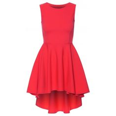Linda Hot Pink Asymmetric High Low Wide Flared Sleeveless Skater Dress (1.97 CAD) ❤ liked on Polyvore featuring dresses, red sleeveless dress, sleeveless dress, going out dresses, red party dresses and sleeveless skater dress
