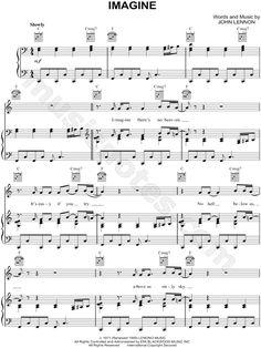 """Partitura de la canción """"Imagine"""" de John Lennon"""
