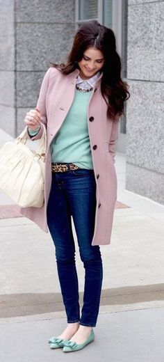 #winter #fashion / pink coat + mint knit